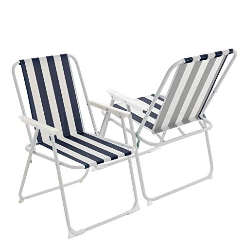 Harbour Housewares Folding Portable Beach/Camping Deck Chair - Blue Stripe...