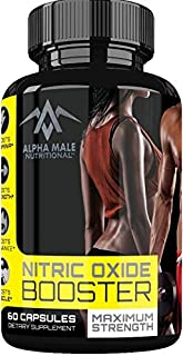 Alpha Male Nitric Oxide Booster - Powerful 1600 Miligram Nitric Oxide Booster and Muscle Builder for Strength, Energy, Blood Flow, Boost Performance and Endurance - 60 Capsules