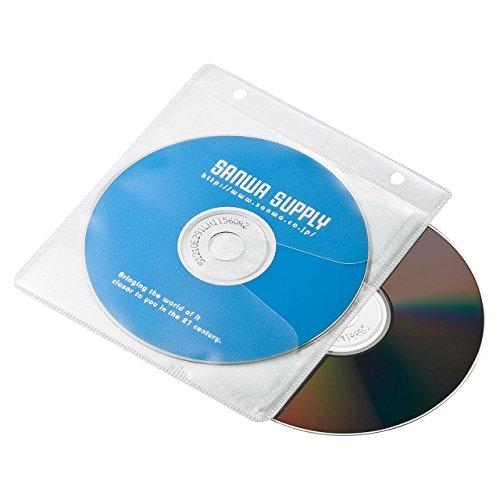 サンワサプライ ブルーレイディスク対応不織布ケース(リング穴付き・50枚入り・ホワイト) FCD-FRBD50W