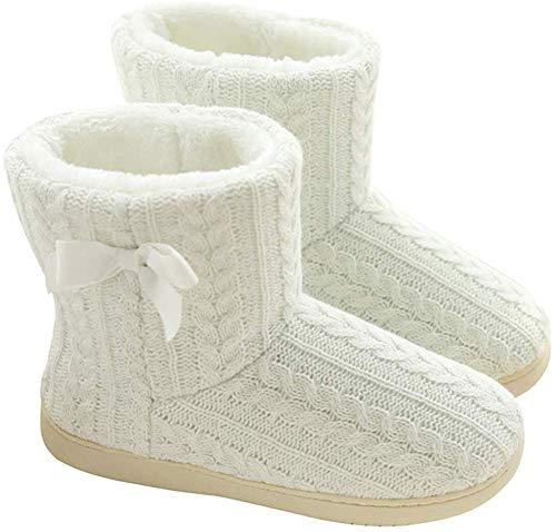 QUEENBACK Donna Caldo Inverno Pantofola Stivaletto, Interno Felpa Pantofola Stivali Accogliente Casa Scarpe - Bianco, 37/38 EU