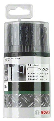 Bosch 2609255033 Juego de brocas 19pieza(s) - Brocas (Taladro, Juego de brocas, Rotación manual derecha, Acero aleado, hierro fundido, Plástico duro, Plancha, Metal, Acero sin aleación, Metal no ferroso, 118°, Acero rápido laminado (HSS-R))