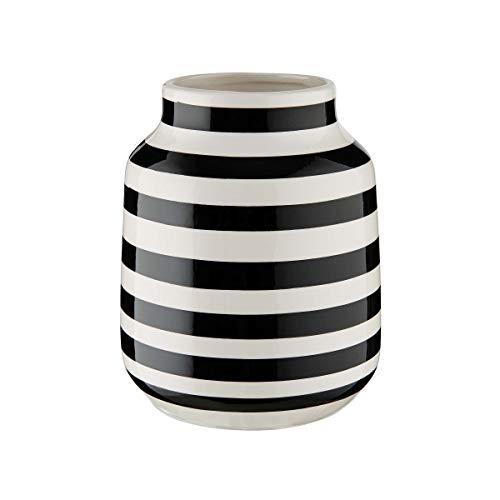 Butlers Malika - Vase gestreift Ø13,5cm - Blumenvase in Schwarz-Weiß - Dekoration für das Wohnzimmer