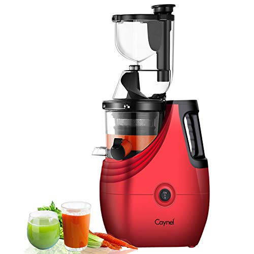 """Slow Masticating Juicer Caynel Cold Press Extractor with 3"""" Wide Chute for Fruits, Vegetables and Herbs, Quiet Durable Motor with Reverse Function, High Yield Vertical Juicer Easy Cleaning, BPA Free"""