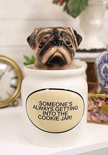 Sale!! Ebros Ceramic Adorable Hiding Thief Pugsie Pug Dog Cookie Jar With Air Tight Lid 9.25 Tall D...