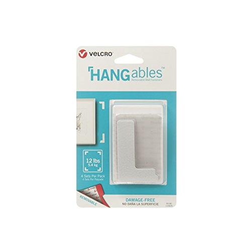 VELCRO Brand HANGables | Removable Wall Fasteners | Decorate Without Damaging Your Walls | Hang frames, Create Wall Collages | 4 Sets per Pack | Corners