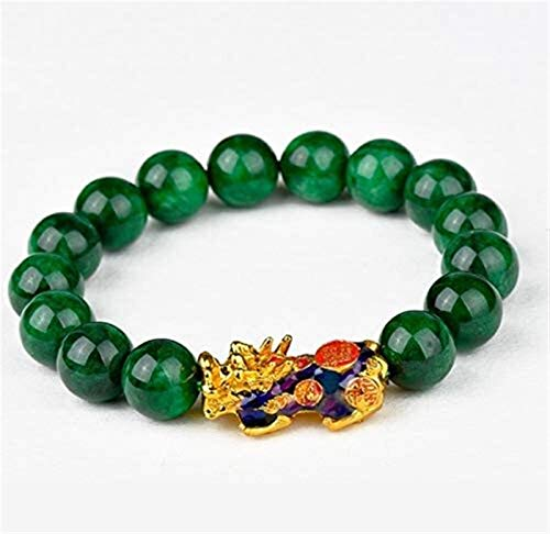 JPSOUP Feng Shui Color Change Pixiu/Pi Yao Wealth Bracelet Genuine Dry Green Jade Stretch Crystal Bracelet for Healing Chakra Gemstone Fu/Happiness Mark Charm Talisman Attract Money Good Luck Happines