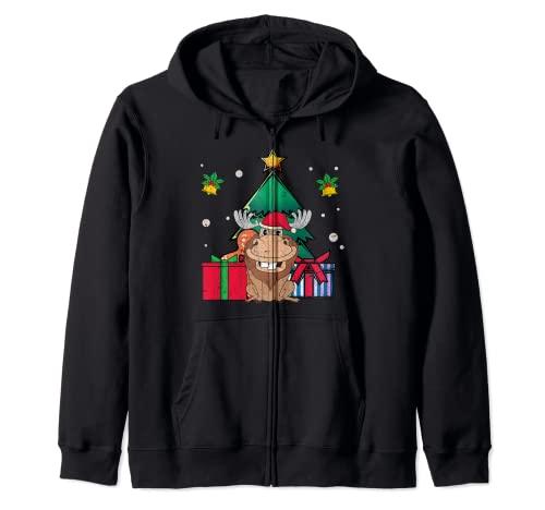 Feliz Navidad Animal Navidad Bosque Animal Amante Divertido Alce Sudadera con Capucha
