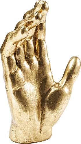 Kare Design Deko Objekt Mano, Dekoobjekt, Dekofigur Gold, Dekoration in Form Einer Hand, Schmuckständer (H/B/T) 35x23x12cm