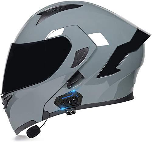 ZYQZYQ Casco de Bluetooth de la Motocicleta, Visor de Doble Sol Modular Tipo Doble Casco Completo, Casco Dot & ECETertificado, Contestación automática de Manos Libres (Color : 7, Size : L-59-60cm)