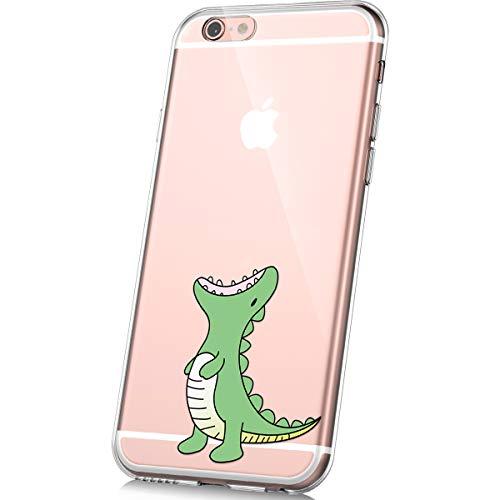 PHEZEN Case for iPhone 6,iPhone 6S Case,Cute Art Design Soft Flexible Crystal Clear TPU Silicone Rubber Case Ultra thin Transparent TPU Bumper Cover Phone Case for iPhone 6/6S,Green Dinosaur