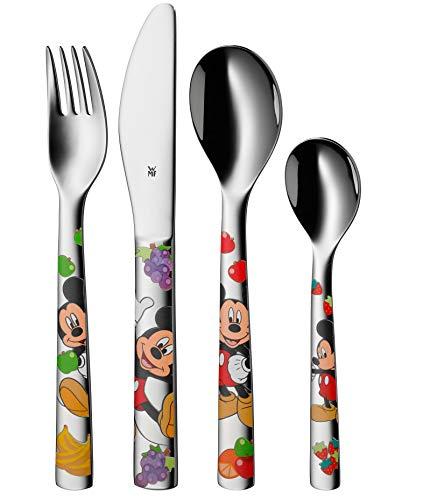 WMF Disney Mickey Mouse Kinderbesteck Set 4-teilig, Kinderbesteck Edelstahl, Besteck Kinder ab 3 Jahre, Cromargan poliert, spülmaschinengeeignet
