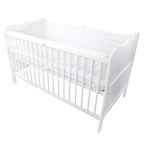 TupTam Baby Nestchen für Babybett Gemustert, Farbe: Sterne Weiß 2, Größe: 420x30cm (für Babybett 140x70)