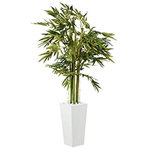 Nearly Natural 6′ Bamboo Artificial Tree in White Tower Planter, Green