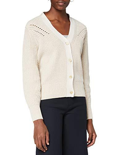 Scotch & Soda Maison Womens Zweifarbiger Rippstrick Cardigan Sweater, 0003 Ecru, M
