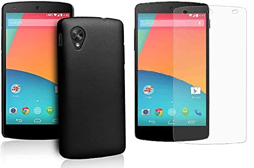 LG Google Nexus 5 Craftech Soft Protective Black Silicon Back Cover Case and Tempered Glass for LG Google Nexus 5 (Black Silicon & Tempered Glass)