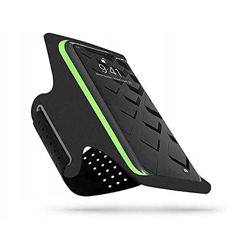 Tech-Protect G10 - Brazalete deportivo para iPhone 12/12 Pro, Samsung Galaxy S10/S20/S21, color negro y verde