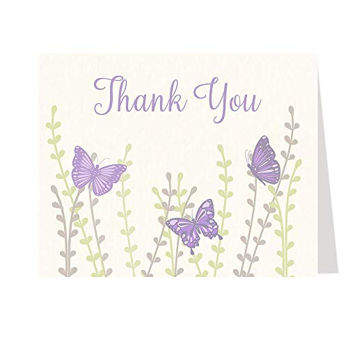 Butterfly Thank You Cards Baby Shower Thank You Notes Butterflies Birthday Girls Botanical Purple Lavender Lilac Fluttering Flowers Little Lady Botanical Butterflies Printed Blank Inside (50 Count)