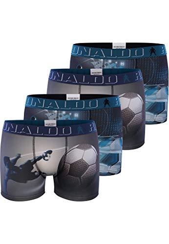 CR7 Cristiano Ronaldo - Boys - Retroshorts für Jungen - Stylische Motiv-Prints - 4-Pack - Blau - Grösse 134/140