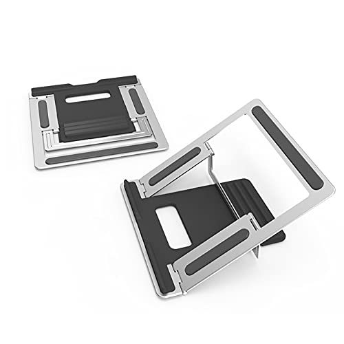 Soporte para computadora portátil para el escritorio, elevador del soporte de computadora de metal, ajuste de altura de 4 niveles, diseño ventilado plegable, silicona antideslizante, compatible con po