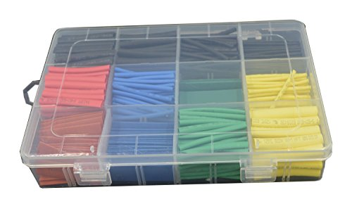 URBEST 530 Pcs 2:1 Heat Shrink Tubing Tube Sleeving Wrap Cable Wire 5 Color 8 Size