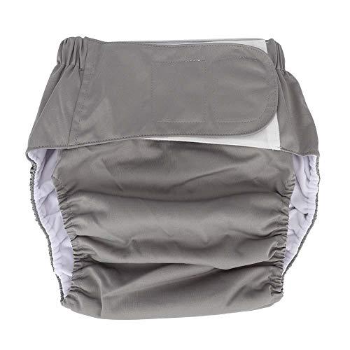 Anciano Pañal de tela, Impermeable Lavable Reutilizable Adulto Impermeable y Reutilizable Anciano Incontinencia Protección Pañales Ropa interior absorbente para hombres o mujeres(gris)