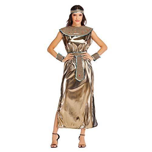EraSpooky Disfraz de Diosa Egipcia del Antiguo Egipto para Mujer Faraón Disfraz Cosplay Fiesta de Halloween Traje para Adulto