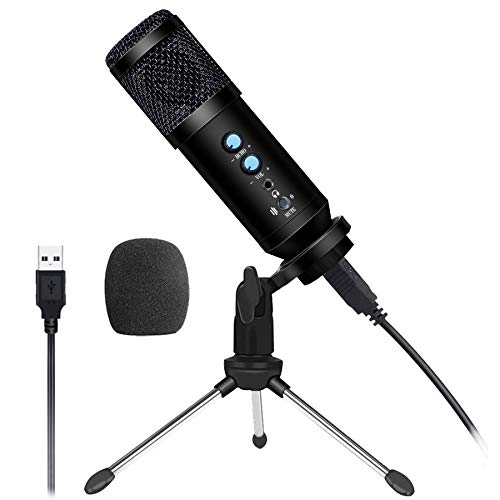 USB Podcast Microphone WOQED USB Condenser Microphone for Computer Microphone for Gaming, Recording and Streaming PC Microphone Desktop Microphone, Gaming Mic for PS4,Singing,Streaming,Laptop