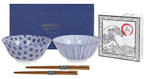 TOKYO design studio Nippon Blue - Set di 2 ciotole blu e bianco, Ø 15 cm, ca. 500 ml, in porcellana asiatica, design giapponese con motivi geometrici, con 2 paia di bacchette e confezione regalo