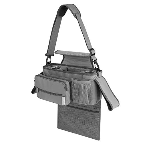 Zooawa Universal Baby Stroller Organizer with Cup Holders, Easy Installation Detachable Front Bag & Shoulder Strap, Extra Large Storage Portable Diaper Messenger Bag - Gray