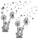 6 Piezas de Pegatinas de Pared de Diente de León Calcomanías de Pared de Flores Diente de León Volantes Mariposas de Vinilo para Decoración de Pared de Dormitorio Sala de Estar Sofá, Negro