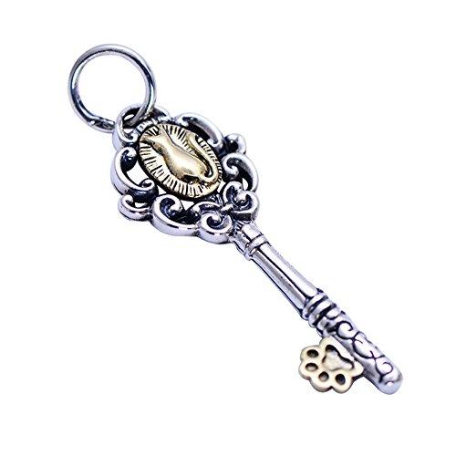 Colgante de forma de llave con gato plata esterlina 925 vendimia para mujeres y niñas