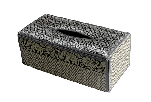 CCcollections TISSUE BOX A cover case Sheath natural Reed wicker ECO sustainable material plush SILK Trim Elephant Side (D Grey)