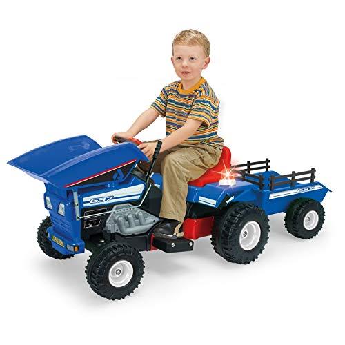 INJUSA - Tractor volquete 12V con remolque, sonido y luces para niños a partir de 3 años