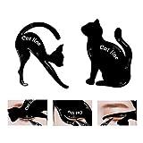 2 Stück Cat Eyeliner Schablonen, mattes PVC-Material Smoky Eyeshadow Applikatoren Schablonenplatte, Cat Shape Eyeliner & Lidschatten Guide Schablonenwerkzeug