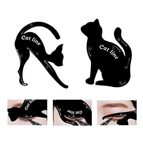 2 Stück Cat Eyeliner Schablonen, mattes PVC-Material Smoky Eyeshadow Applikatoren Schablonenplatte,...