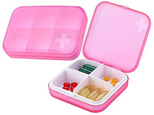 ZDQZC Pill Organizer - Portable Pill Box Small Pill Container for Purse or Pocket, Excellent Pill Storage Case (Pink, 4+6 Compartment)