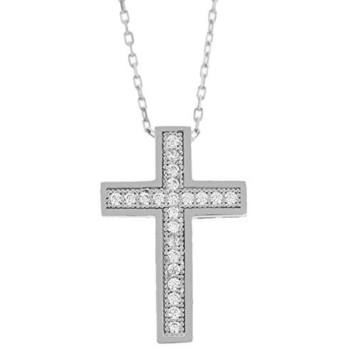 Echt goud dames zirkonia kruis met ketting sieradenset witgoud hanger gouden hanger set 2416
