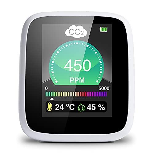 SELENSY Medidor de CO2 -Alarma Incorporada-Portátil a tiempo real- 400-5000 PPM -Medidor de Calidad de Aire Interior- Medidor de Humedad y Temperatura - Sensor NDIR - Batería Litio - Cargador Incluido