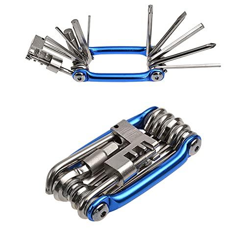 Multiusos Bici Herramientas, Multiherramienta Bici, Mini Bici Plegables Herramientas 11 en 1 Multifunción Bicicleta Reparacion Herramientas Mantenimiento Herramientas Kit (Azul)