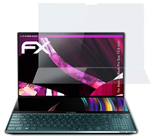 atFolix Glasfolie kompatibel mit Asus ZenBook Pro Duo 15.6 inch Panzerfolie, 9H Hybrid-Glass FX Schutzpanzer Folie (1er Set)