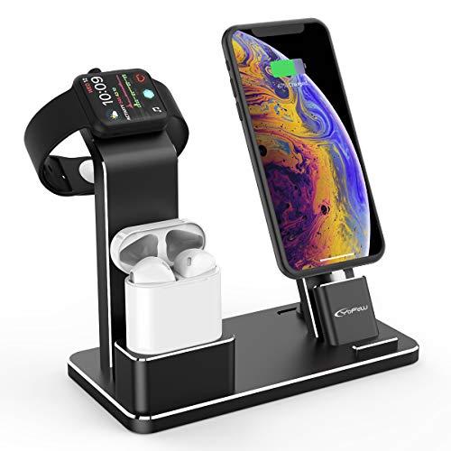 『Apple Watch スタンド, YoFew Apple Watch Series 3 Series 2アルミニウム4イン1Apple Watch 充電 スタンド ホルダー Airpods 充電スタンド 充電 クレードル ドック Airpods アップルウォッチ シリーズ 2 / シリーズ/iPhone 7/ 7 Plus / 6/ 6 Plus/ 5s / iPad (銀)』のトップ画像