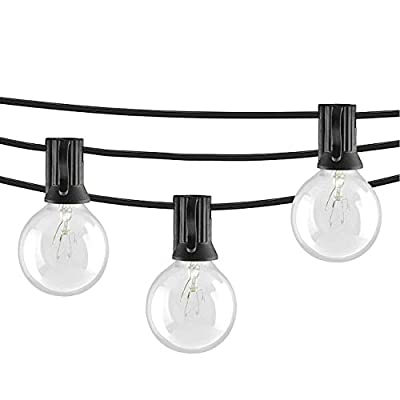 Afirst 25Ft Outdoor String Lights,G40 Patio String Lights with Clear Edison Bulbs,UL Listed Set of 25 Glass Edison String Lights Garden/Backyard Party/Wedding Indoor String Lights-Black Wire