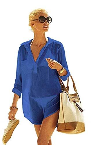 heekpek Mujer Manga Larga Grande Tunicas Playa Profundo Cuello en V Casual Solid Color Camisa para Playa y Piscina Bluson Camisolas y Pareos Playa Verano