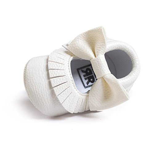 kingko® Bébé fille bowknot Glands chaussures Toddler souple Sole Sneakers Chaussures Casual (0 ~ 6 mois, blanc)