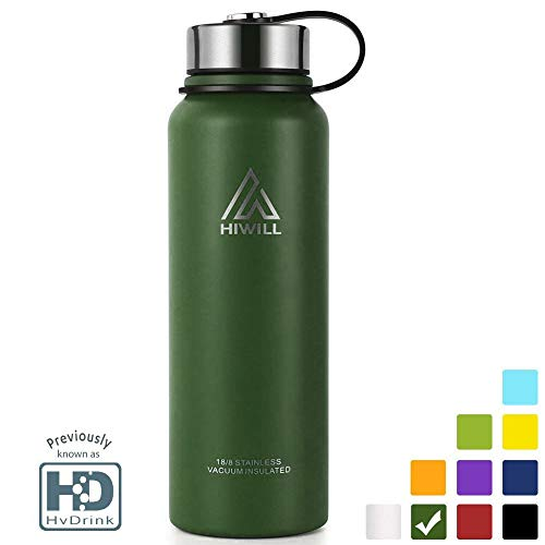 Stainless Steel Vacuum Insulated Water Bottle, 24Hrs Cold,12Hrs Hot, 21OZ-50OZ Double Wall Thermos Flask, Travel Sports Leak Proof Drinking Bottle with Metal Strainer, BPA Free (Army Green, 27oz)