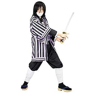 C-ZOFEK Iguro Obanai Cosplay Costume Black Purple Striped for Men