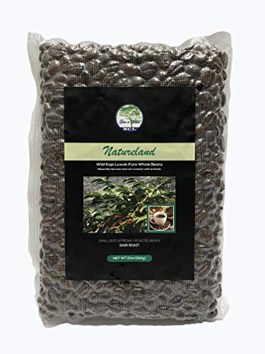 NATURELAND Specialty Roasted Coffee (Wild Kopi Luwak Coffee Beans Dark Roast, 10oz) Sourced from the best regions of Vietnam Ethically produced from Wild Palm Civet Cats