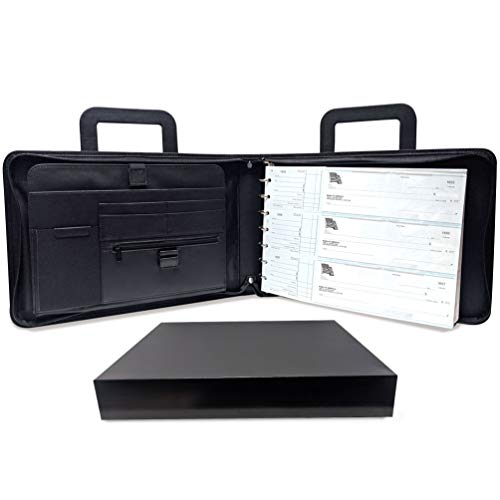 MSP Business 7 Ring Check Binder Portfolio with Retractable Handle, Zipper Closure -500 Check Capacity, 9x13 Inch Sheets in PU Leather (Check Portfolio -Black)