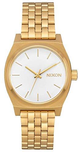 Nixon  A1130-504-00 Reloj para Mujer Medium Time Teller 31mm, Oro/Blan