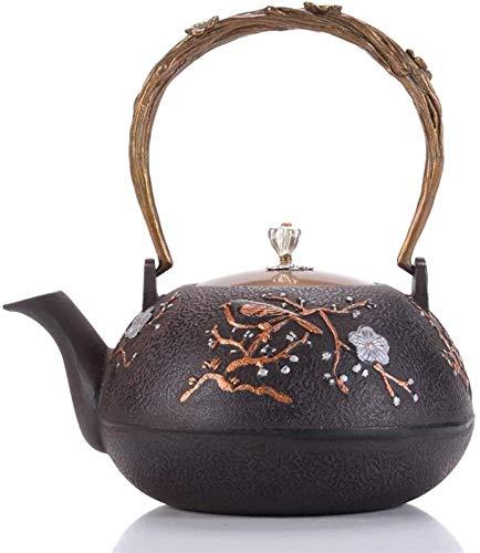Tetera vintage para té a granel Tetera de hierro fundido de flores con acero inoxidable Colador de infusión de acero japonés sin recubrimiento de hierro fundido de hierro fundido de hierro tetera estu